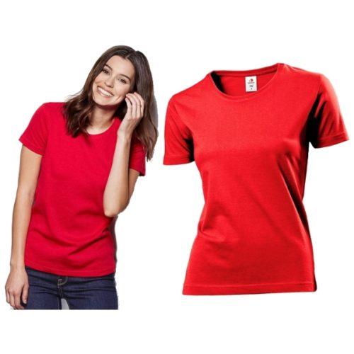 Potisk na červené dámské triko