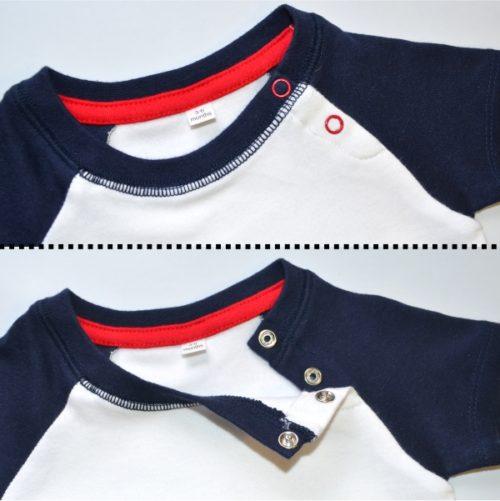 Dětské body s nohavičkou, detail zapínání