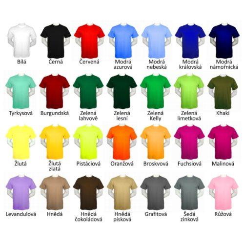 velký výběr barev triček