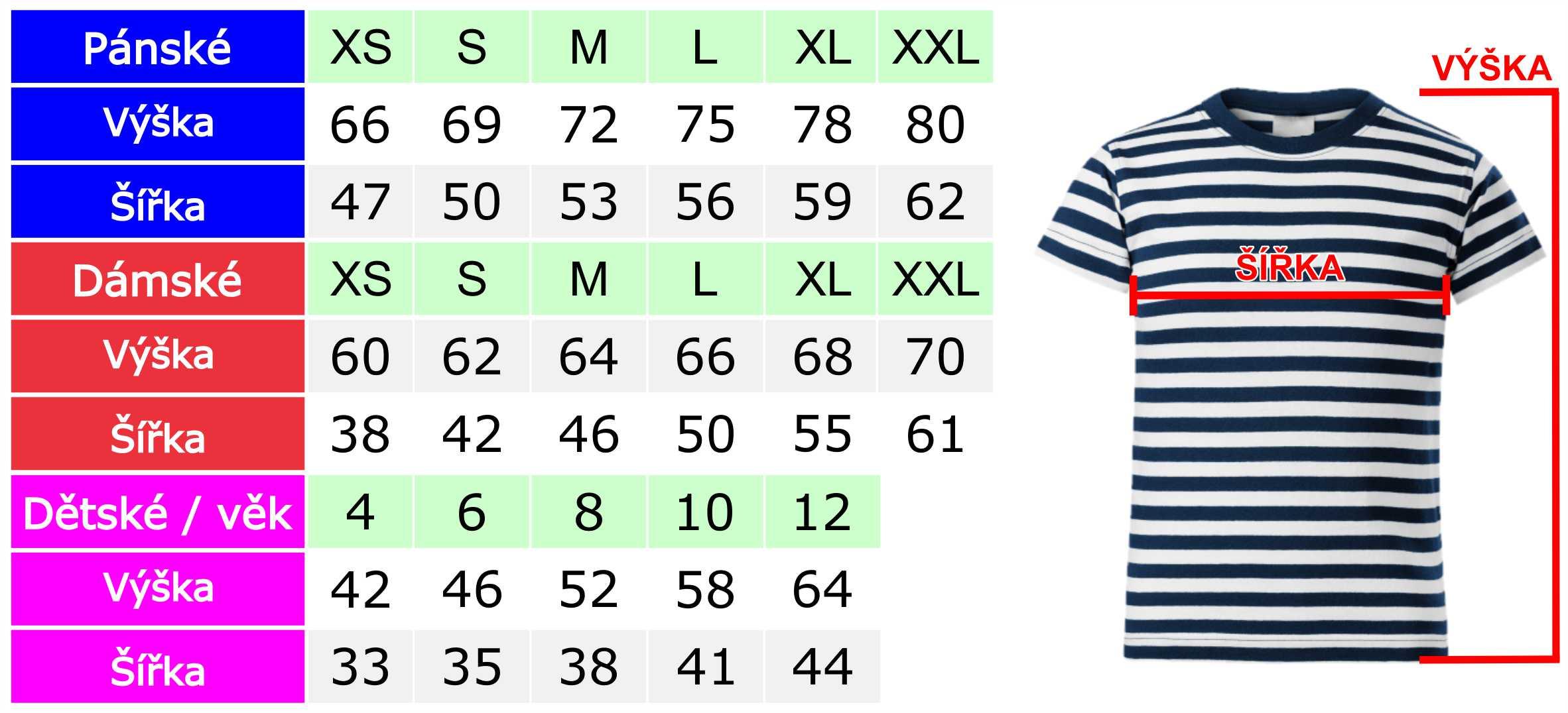 Tabulka velikostí námořnických triček